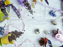 Dekoracyjny sezonowy życie przepiórek jajka wciąż, owoc, jagody, warzywa, pikantność na lekkim tle obrazy royalty free