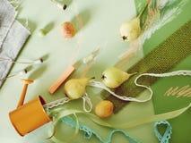 Dekoracyjny sezonowy skład owoc, wystrój, greenery na zieleni zabarwiał papier fotografia royalty free