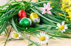 Dekoracyjny skład mimozy, kwiaty i czekoladowi jajka dla, Obrazy Stock