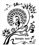 Dekoracyjny, stylizowany wizerunek paw na gałąź, nowożytny Fotografia Royalty Free