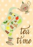Dekoracyjny tło z czajnikiem, filiżanką, pikantnością i mennicą, herbata i owoc, również zwrócić corel ilustracji wektora ilustracja wektor