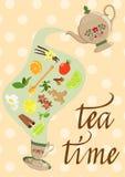Dekoracyjny tło z czajnikiem, filiżanką, pikantnością i mennicą, herbata i owoc, również zwrócić corel ilustracji wektora royalty ilustracja