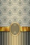 Dekoracyjny tło z roczników wzorami, złotym faborkiem i f, Zdjęcia Royalty Free