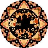 Dekoracyjny talerz z ślicznymi kreskówek zwierzętami i kurenda graniczymy w złotych brzmieniach na czarnym tle royalty ilustracja