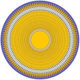 Dekoracyjny talerz z geometrical kurenda wzorem w błękitnym, pomarańcze barwi ilustracji