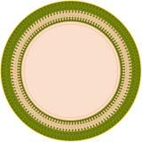 Dekoracyjny talerz z geometrycznym kurenda wzorem w zieleni, beż, brąz barwi ilustracja wektor