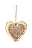 Dekoracyjny tkaniny serce odizolowywający Fotografia Royalty Free