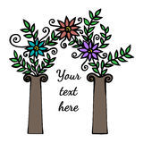 Dekoracyjny łuk z abstrakcjonistycznym kwiatem Obraz Royalty Free