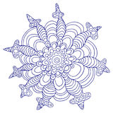 Dekoracyjny, uroczy, tropikalny kwiat, błękita kontur, odosobniony eleme ilustracja wektor