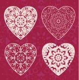 Dekoracyjny walentynki kartka z pozdrowieniami z kwiecistymi ozdobnymi sercami Obraz Royalty Free