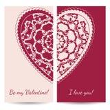 Dekoracyjny walentynki kartka z pozdrowieniami z kwiecistymi ozdobnymi sercami Obrazy Stock