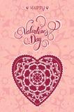Dekoracyjny walentynki kartka z pozdrowieniami z kwiecistymi ozdobnymi sercami i literowaniem Zdjęcia Royalty Free