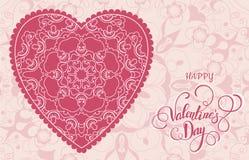Dekoracyjny walentynki kartka z pozdrowieniami z kwiecistymi ozdobnymi sercami i literowaniem Zdjęcie Royalty Free