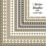 Dekoracyjny wektor szczotkuje z wewnętrznymi i zewnętrznymi kąt płytkami Obrazy Royalty Free
