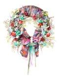 Dekoracyjny wianek na drzwi z kwiatami odizolowywającymi Obraz Royalty Free