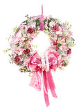 Dekoracyjny wianek na drzwi z kwiatami odizolowywającymi Zdjęcia Stock