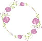Dekoracyjny wianek z purpurowymi różami Obrazy Royalty Free
