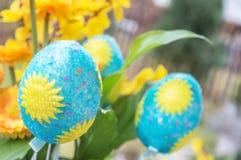 Dekoracyjny Wielkanocnych jajek zbliżenie Zdjęcia Stock