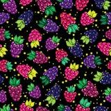 Dekoracyjny wzór z dzikimi i ogrodowymi jagodami Fotografia Stock