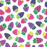 Dekoracyjny wzór z dzikimi i ogrodowymi jagodami Obrazy Royalty Free
