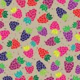 Dekoracyjny wzór z dzikimi i ogrodowymi jagodami Obraz Stock