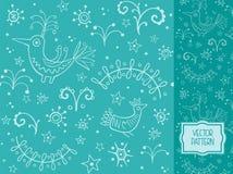 Dekoracyjny wzór z ptakami i roślina elementami Obraz Stock