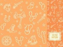 Dekoracyjny wzór z rzeczami kowbojska odzieży nicielnica dla h Fotografia Stock