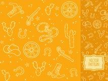 Dekoracyjny wzór z rzeczami odzieżowymi kowboj i elementy Obraz Royalty Free