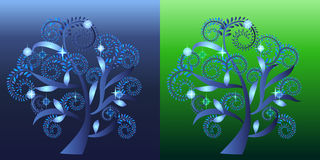 Dekoracyjny zawijasa drzewo Royalty Ilustracja