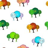 Dekoracyjnych drzew bezszwowy wzór Royalty Ilustracja