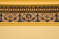 Dekoration auf Gebäude in Zsolnay-Mitte, Pecs Lizenzfreies Stockfoto