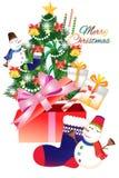 Dekoration der frohen Weihnachten mit Weihnachtsmann auf weißem Hintergrund - kreative Illustration eps10 Stockfotos