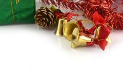 Dekoration der goldenen Glocken Weihnachts stockbild