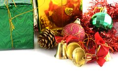 Dekoration der goldenen Glocken Weihnachts lizenzfreies stockbild