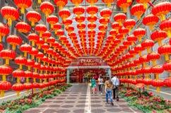Dekoration des Chinesischen Neujahrsfests in Kiloliter-Pavillon Lizenzfreie Stockfotografie