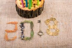 Dekoration 2018 des neuen Jahres mit Blättern, Münzen und einem Schlüssel Stockfotografie