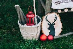Dekoration des neuen Jahres mit Rotwild Stockfoto