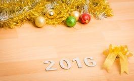 Dekoration des neuen Jahres, Nahaufnahme 2016 Lizenzfreie Stockfotografie