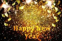 Dekoration des neuen Jahres, Nahaufnahme auf goldenen Hintergründen Lizenzfreie Stockbilder