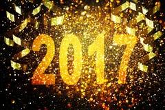 Dekoration des neuen Jahres, Nahaufnahme auf goldenen Hintergründen Stockfotografie