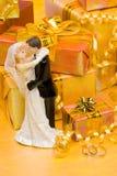 Dekoration mit Geschenkkästen stockfoto
