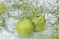 Dekoration mit grünen Äpfeln und Spargel auf weißem Hintergrund Stockfotografie
