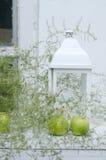 Dekoration mit weißem Kerzenhalter und grünem Apfel Lizenzfreie Stockbilder
