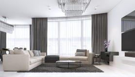 Dekoration und Entwurf des zeitgenössischen Wohnzimmers stock abbildung