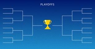 Dekoration von Endspielen legen Schablone auf blauem Hintergrund fest Kreative Design-Turnier-Klammer stock abbildung