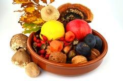 Dekoration von Herbstfrüchten Stockbilder