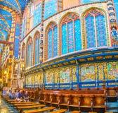 Dekorationen des Chores von St. Mary Basilica in Krakau, Polen lizenzfreies stockbild
