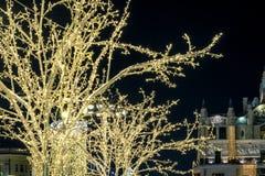 Dekorationen des neuen Jahres auf den Bäumen in Moskau lizenzfreies stockbild