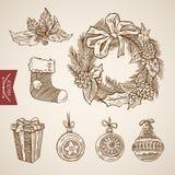 Dekorationen des Weihnachtsneuen Jahres treffen handdrawn Retro- Vektor des Geschenks hart Stockbild