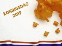Dekorationen für Königtag 2019 ( Koningsdag in Dutch) lizenzfreies stockbild